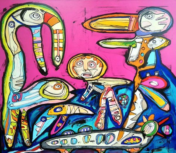 Maleri: Skæve børn vokser også op og lærer at gå lige