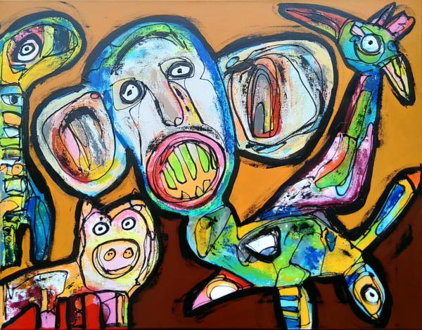 Maleri: Ude bagest i Fuglse Bagskov