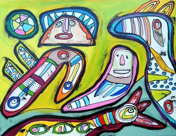 Maleri: Så gør dog noget, uret tikker, løb for livet, elsk hinanden, så gør dog noget